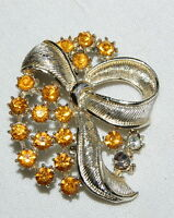 "Vintage Orange Rhinestone Gold Silver Tone Brooch Pin 2"" Bow"