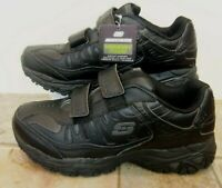 Skechers Air Cooled Women Shoes Black Leather Memory Foam 8 M NEW