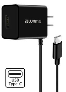 Black 2.1A USB TYPE-C TRAVEL WALL CHARGER USB PORT FOR BLACKBERRY MOTION, KEYONE