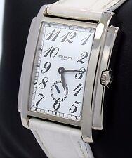 PATEK PHILIPPE 5024G Gondolo  18K White Gold White Dial On Leather Band Watch
