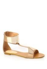 SIREN Bolly Nude & Gold Metallic Cuff Sandals