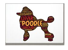 More details for poodle dog art print word art a4 a3 mothers day gift personalised option
