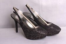 Nine West Women's Cozelle Fabric Platform Pump Black/Silver 8.5 M Animal Print