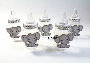 12 Silver Elephant Fillable Bottles Baby Shower Party Favors Prizes Game Decor