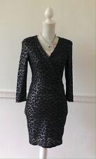 Warehouse Black Silver Stretch Body Con Mini Dress V Neck 3/4 Sleeves Size 8