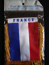 "NEW France Flag Mini Banner 4"" x 6"" w/ Suction Cup Car Window Red White Blue"