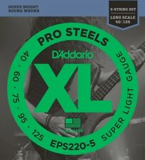 D'Addario ProSteels Bass Guitar 5-Strings, Super Light, 40-125, Long Scale