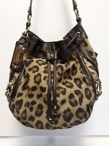 Tignanello Suede Leather Handbag Purse Brown Leopard Animal Print Gold
