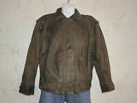 Brown Leather NEVADA BLUE Zip Slouch Waist Length Bomber Biker Jacket Size M