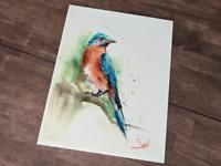 Watercolor Blue Bird Painting, Eastern Bluebird Picture, Blue Bird Decor