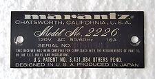 Vintage Marantz Model 2226 FM/AM Receiver Parts : Serial Model ID Plate