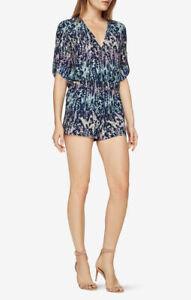 $ 228 NEW Women's BCBG ikat print. CADE Romper / Jumpsuit SZ M Blue & Purple