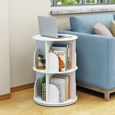 White 2 Tier Bookcase Rotating Bookshelf Storage Shelves Unit Display Shelf