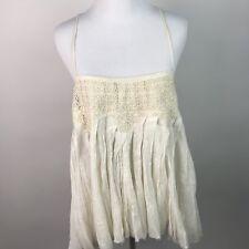 Free People One Womens Pleated Gauzy crochet Cross Straps Shredded Hem M AL66