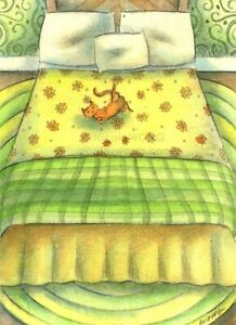 Wong ORIGINAL ACEO Watercolor Drawing Painting bedroom naps cats pets - MY BED