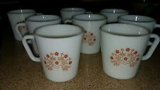 VINTAGE SET OF 8 PYREX MILK GLASS WHITE COFFEE CUPS/MUGS WITH BROWN FLOWERS