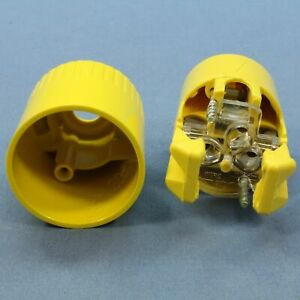 New Bryant Yellow INDUSTRIAL MAXGRIP Straight Blade Connector 5-20R 20A 5369-BY
