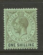 GIBRALTAR 1912, 1/- GREEN/BLACK KING GEORGE V, MULTI CROWN CA, S.G 81 MH*