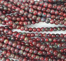 100 Red Picasso Opaque Czech Pressed Glass Round Beads 4mm - No. T9320