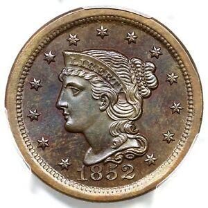 1852 N-12 PCGS MS 65 BN Braided Hair Large Cent Coin 1c