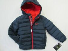 """NIKE """"JUST DO IT"""" Boys size 4  Navy/Red Full Zip Pockets Puffer Hooded Jacket"""