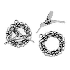 5 sets - Antique silver toggle clasp with hummingbird