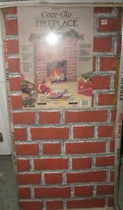 Vintage Christmas Cozy Glo Fireplace Corrugated Cardboard Mantle 1989 Mint Cond