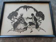 Antique Black Silhouette Elegant Romantic  Scene Man & Woman Pretty