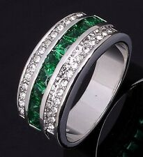 Fashion Percious Jewelry Size 8 Womens Men Emerald 18K Gold Filled Wedding Rings