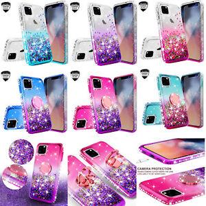 Apple iPhone 11, 11 Pro, 11 Pro Max Case Ring Liquid Glitter Phone Cover Girls