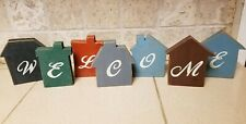 Rustic Farmhouse Primitive Country WELCOME Sign Wood Blocks House Barn Cats Meow