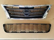 fits 2013-2015 NISSAN SENTRA SR Front Bumper Cover Upper & Lower Grille PAIR SET