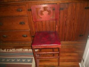 VTG MID CENTURY DURALITE PLASTIC Co. Wood Folding Chair w/Red Vinyl Seat #3