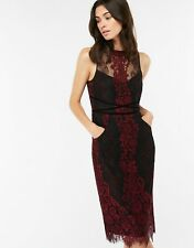 MONSOON Charvi Black/Purple/Berry Lace Cocktail Midi Pencil Dress Size 12 £120