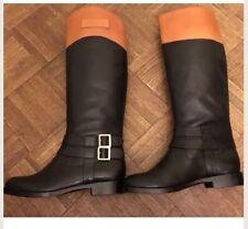 RACHEL ZOE Women's Black Leather GRAYSON Buckle Tall Flat Riding Boots sz: US 6