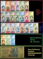 Venezuela Full Set 2 - 100,000 Bolivares, 2-500 Soberanos plus 3 newest + Bonus