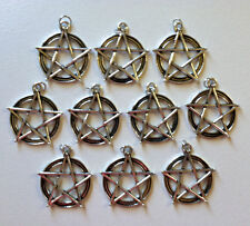 Wiccan Pentagram Pendant, Wicca Charm Pagan, 10 count Antique Silver