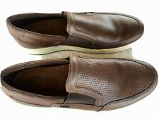 $225 GENUINE ECCO MEN'S BEAUTIFUL BROWN LEATHER COMFORT SLIP ON SHOES LOAFERS 44