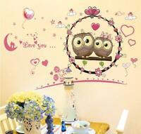 Wall Sticker Owls in Love Kids Nursery Baby Children's Room Living Room Bedroom
