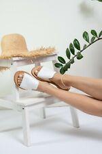 Ancient Greek style white minimal flat real leather slide sandals handmade