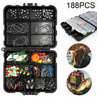 188x Fishing Accessories Kit  Pliers Jig-Hook With Tackle Box Fisherman Tool Set