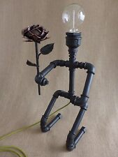 Pipe art lamp steampunk robot lamp in Love Rose industrial table lamp loft lamp.