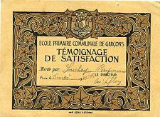 ECOLE PRIMAIRE COMMUNALE DE GARCONS TEMOIGNAGE DE SATISFACTION 1922 PARIS