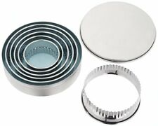 JUDGE Set 6 Round Crinkle Metal Biscuit/Cookie Cutters in Tin Cakes/Scones/Tarts