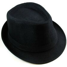 Cotton Fedora Hat Cap trilby Mens BLACK Womens Unisex fashion Canvas style NEW