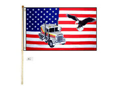 5' Wood Flag Pole Kit Wall Mount Bracket With 3x5 Usa Truck Eagle Polyester Flag