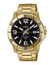 BRAND NEW MODEL Casio MTP-VD01G-1B Men's GOLD Tone BLACK Date Dial Watch 50M WR