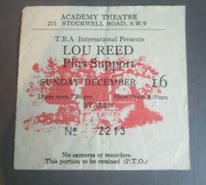 CONCERT TICKET LOU REED ...