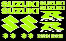 Full Entire Kit of Suzuki GSX-R Decals 16 Full Color Set Lime Green