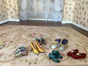 Vintage Miniature Dollhouse Large Grouping Collection Painted Metal Shoes Socks